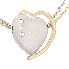 Anhänger Herz mit 3 Diamanten Brillanten, 585 Gelbgold & Weißgold
