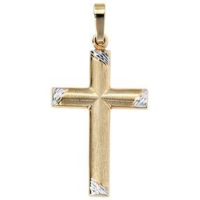 Anhänger Kreuz, 333 Gold Gelbgold, teilrhodiniert teilmattiert, Unisex