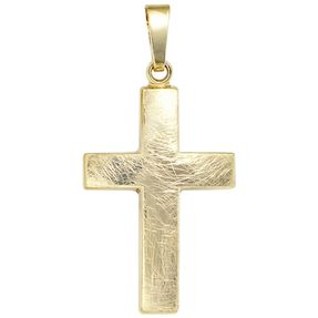 Anhänger Kreuz Kreuzanhänger, 333 Gold Gelbgold, eismatt, Unisex