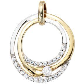 Anhänger Ring mit Zirkonia, 333 Gold Gelbgold, teilrhodiniert, Damen