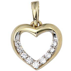 Anhänger Herz mit Zirkonia, 333 Gold Gelbgold, teilrhodiniert, Damen