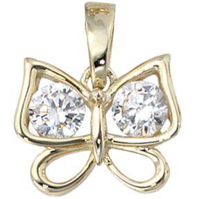 Anhänger Schmetterling mit Zirkonia, 333 Gold Gelbgold, für Damen