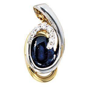 Anhänger mit Saphir Safir, 8 Diamanten Brillanten, 585 Gold gelb/weiß