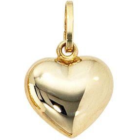 Goldanhänger Herzanhänger Anhänger Herz, 333 Gold Gelbgold für Damen