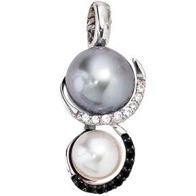 Anhänger, Perle grau weiß & 17 Diamanten Brillanten, 585 Gold Weißgold