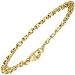 Garibaldiarmband Armband Armkette aus 585 Gold Gelbgold massiv, 19cm, Unisex