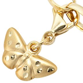 Charm Anhänger Einhänger Schmetterling aus 333 Gold mattiert, Charms