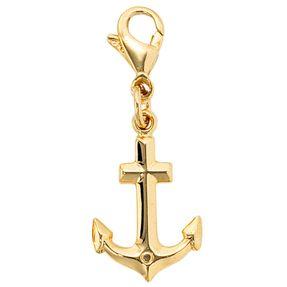 Charm Anhänger Einhänger Anker, 333 Gold Gelbgold, für Bettelarmband