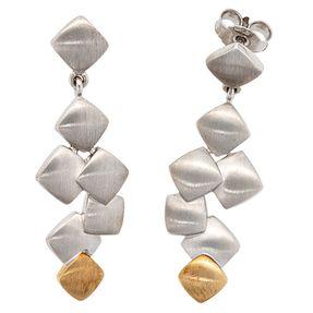 Ohrringe Ohrhänger mit Stecker, 585 Gold & 925 Silber kombiniert, matt