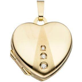 Medaillon Anhänger zum Öffnen, Herz mit 3 Zirkonia 333 Gold Gelbgold