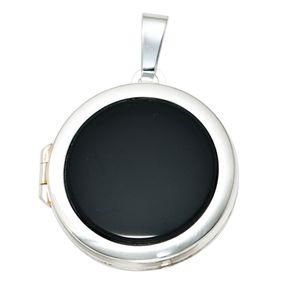Medaillon Anhänger zum Öffnen mit Onyx schwarz, 925 Silber, Unisex