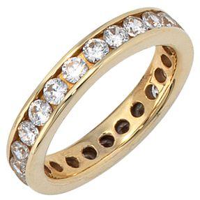 Ring Goldring Damenring mit Zirkonia rundum, 333 Gold Gelbgold, Damen