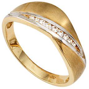 Ring Goldring Damenring mit 9 Zirkonia, 333 Gold Gelbgold teilmattiert