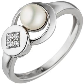 Ring Damenring, Süßwasser Perle & 4 Zirkonia, 925 Silber, Silberring