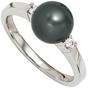 Ring Damenring, dunkle synthetische Perle & Zirkonia 925 Silber Damen