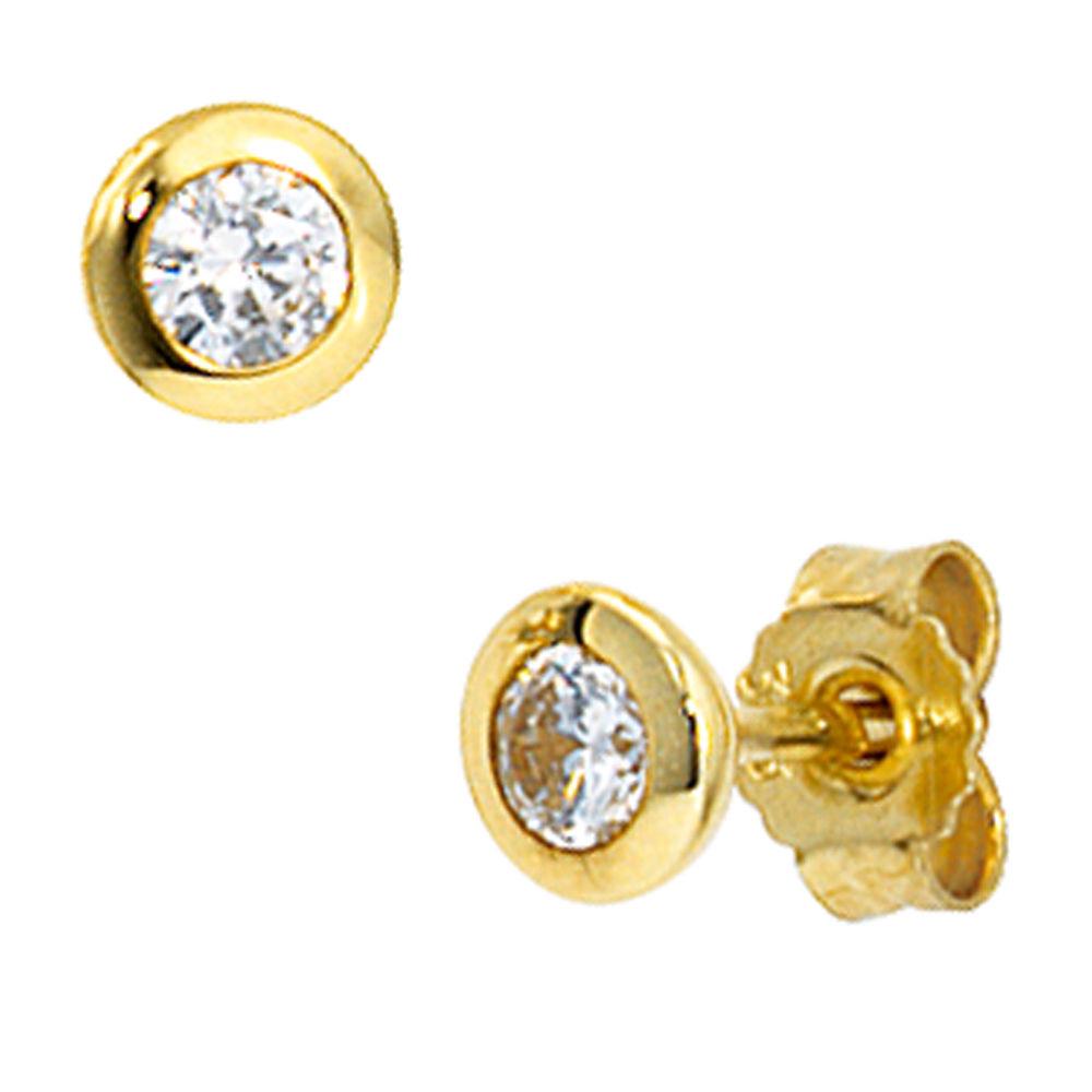 Details zu Ohrstecker Stecker mit Zirkonia, 4.5mm, 333 Gold Gelbgold, Ohrringe für Damen
