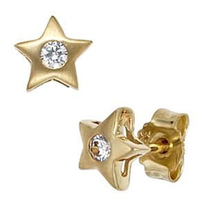 Ohrstecker Stecker Stern Sterne, Zirkonia gefasst, 333 Gold Gelbgold
