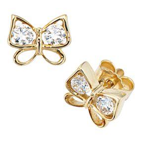 Ohrstecker Schmetterling mit 4 Zirkonia, 333 Gold Gelbgold, Damen
