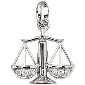 Sternzeichen Waage, Anhänger mit Zirkonia, 925 Silber, rhodiniert
