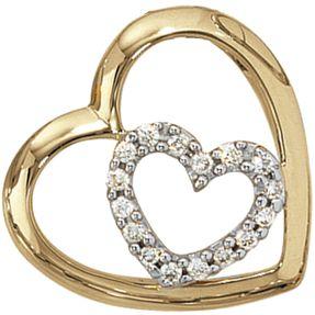 Anhänger Herz, zwei Herzen, 16 Diamanten Brillanten, 585 Gold Gelbgold