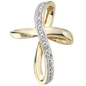 Anhänger Kreuz mit 7 Diamanten Brillanten, 585 Gold Gelbgold Goldkreuz
