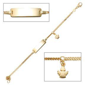 Goldarmband für Kinder, Schildband mit Engel, 585 Gold Gelbgold, 14cm