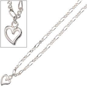 Fußkettchen Fußkette Fußschmuck Herz aus 925 Silber, 25cm, für Damen