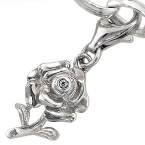 Anhänger Einhänger Charm Rose mit Zirkonia, 925 Silber, rhodiniert