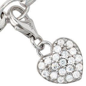 Anhänger Einhänger Charm Herz, Zirkonia, 925 Silber, Silbereinhänger