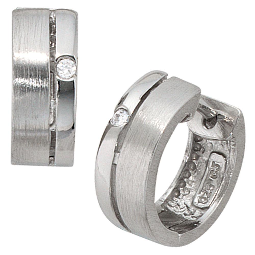925 Silber Damen Ohrringe  Scharnier-Creolen 14,5 mm mit vielen weißen Zirkonia