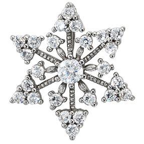 Anhänger Schneeflocke mit Zirkonia, 925 Silber, rhodiniert, für Damen