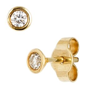 Ohrstecker, Solitär, Diamant Brillanten, 585 Gold Gelbgold, für Damen