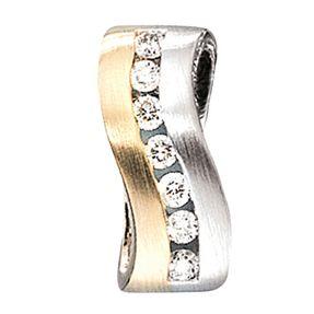 Anhänger mit Diamanten Brillanten, 585 Gelbgold Weißgold, Damen