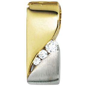 Anhänger Goldanhänger mit Zirkonia, 333 Gold Gelbgold, edel, für Damen