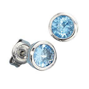 Ohrstecker Stecker Ohrschmuck, Kristall aqua blau, 925 Silber, Damen Vorschau