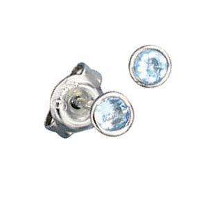 4mm Ohrstecker Stecker Ohrschmuck, Kristall aqua blau rund, 925 Silber