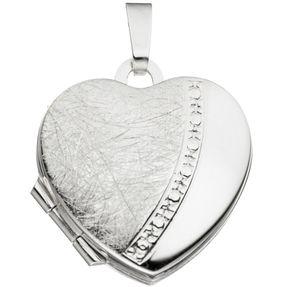 Medaillon Anhänger zum Öffnen, Herz mattiert, 925 Silber, für Damen