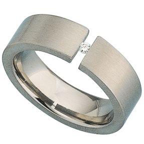 Ring für Damen Damenring aus Titan mit Diamant Brillant, Titanring