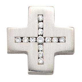 Anhänger, Kreuz mit Diamanten Brillanten, 950 Platin, für Damen