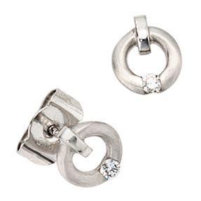 Ohrstecker Stecker, Diamanten Brillanten, rund, 950 Platin, für Damen