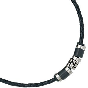 9mm Collier Leder mit Edelstahl kombiniert, geschwärzt, Unisex, 45cm