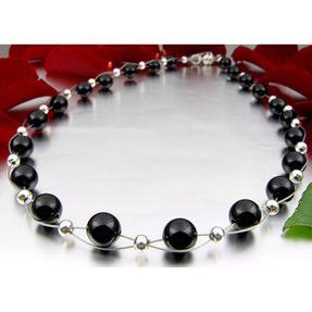 Damen-Kette-aus-Onyx-und-925-Silber