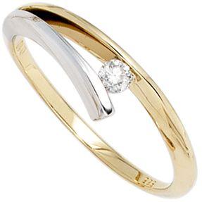 Ring Damenring mit Diamant Brillant 0,10 Ct. 585 Gold Gelbgold Weißgold