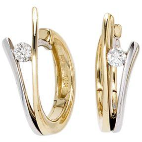 Creole Creolen mit Diamanten Brillanten 585 Gold Gelbgold Weißgold