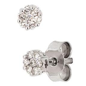 Ohrringe Ohrstecker mit 14 Diamanten Brillanten weiß 585 Gold Weißgold