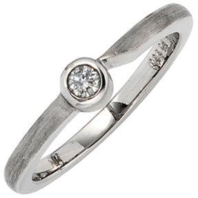 Solitär Ring Damenring mit Diamant Brillant weiß 950 Platin schlicht