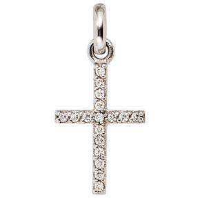 Anhänger Goldkreuz Kreuz mit 17 Diamanten Brillanten 585 Gold Weißgold