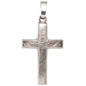Anhänger Goldkreuz Kreuz eismatt gehämmert 375 Gold Weißgold