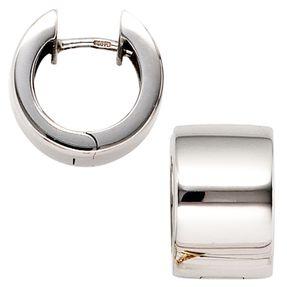 13,2mm Creolen Ohrringe Klappcreole aus 375 Gold Weißgold glänzend