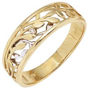 Ring Damenring Blumen mit Diamant Brillant 585 Gold Gelbgold Weißgold